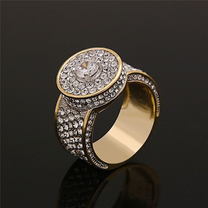 Roud Ring-Finger Ring AAA Cubic Zirconia Ring-HIP HOP Style Gold Iced Out b4a85fda1cc6