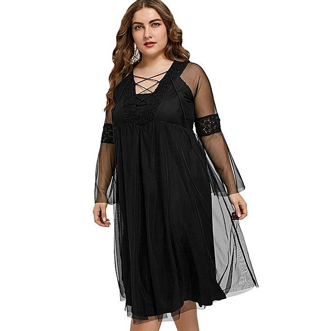 Black midi dresses for women plus size