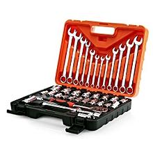 37pcs Socket Ratchet Wrench Automobile Repair Tools Kit - orange
