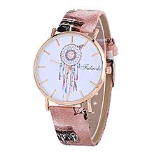 Lady  Leather Wrist Watch Fulaida Dreamcatcher Pattern Fashion Women Colored PU Leather Watch -Coffee