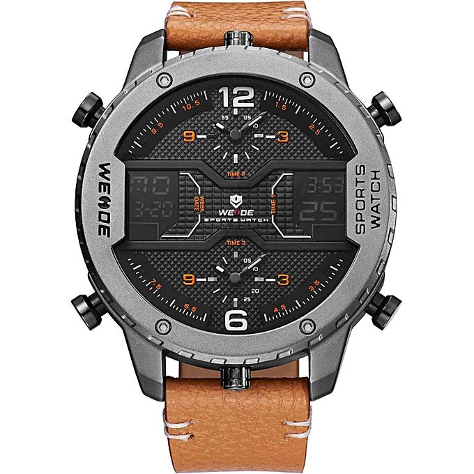 32e211e6a1 genuine luxury watch quartz men leather sport watches LED Double display  waterproof digital alarm white clock