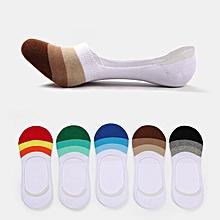 Mens Ankle Invisible Boat Socks Silicon Anti-Slip Spell Color Stripe Casual Socks