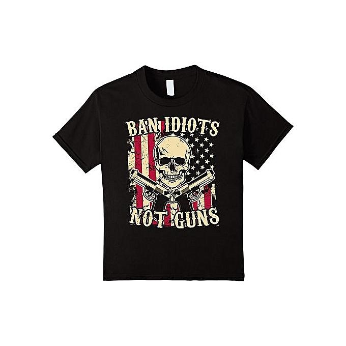 87da1f5a Custom Funny Mens T Shirts Ban Idiots Not Guns / American Flag / Skull T-