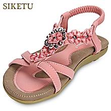 ca3f9a9644ada4 SIKETU Bohemia Beads Open Toe Elastic Band Gladiator Sandals For Ladies-PINK