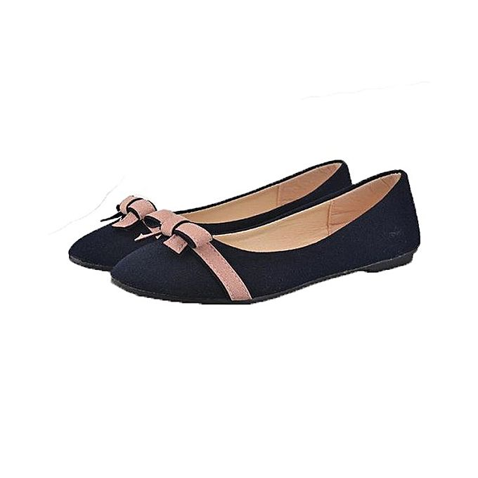 Lady Bowknot Flat Shoes Leisure Sweet Ballet Shoes (7 Blue)