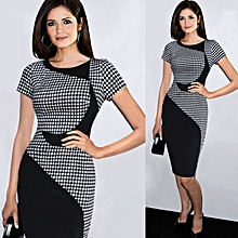 Women Pencil Dresses Bodycon O-neck Sleeveless Knee-length Illusion Slimming Stretch-black
