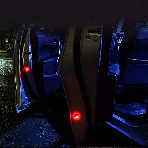 4pcs/Set Flashing LED Warning Lamp Auto Strobe Traffic Light Red Car Door  Lights Anti Collision Magnetic Control Car-styling