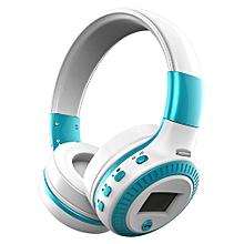 B19 Bluetooth Headphone Wireless Stereo Earphone Foldable Over Ear Headset 3.5mm AUX In LCD Display FM Radio TF Card Slot w/ Microphone