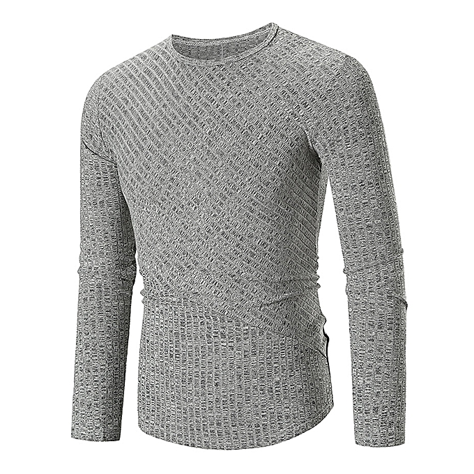 Buy Fashion Leadsmart Solid Color Texture Patch Long Sleeve T-shirt ... 1591f264711