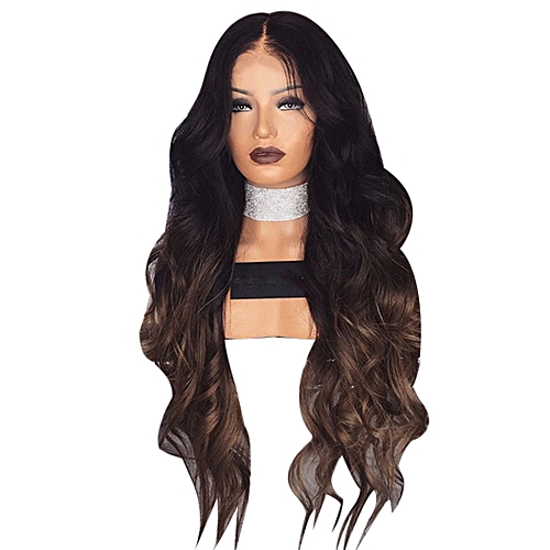 Generic Womens Long Wavy Curly Blonde Brown Ombre Hair Wigs   Best ... 7d3643ebddbc