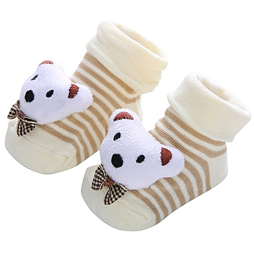 d9c98d8ce3a59 Baby Cartoon Socks Toddler Animal No Show Non Slip Anti Skid Slippers Shoes  White 30#