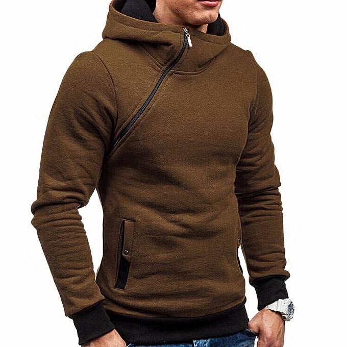afc184038378 Men s Autumn Winter Long Sleeve Zipper Hooded Sweatshirt Tops Blouse BW L-  Brown -