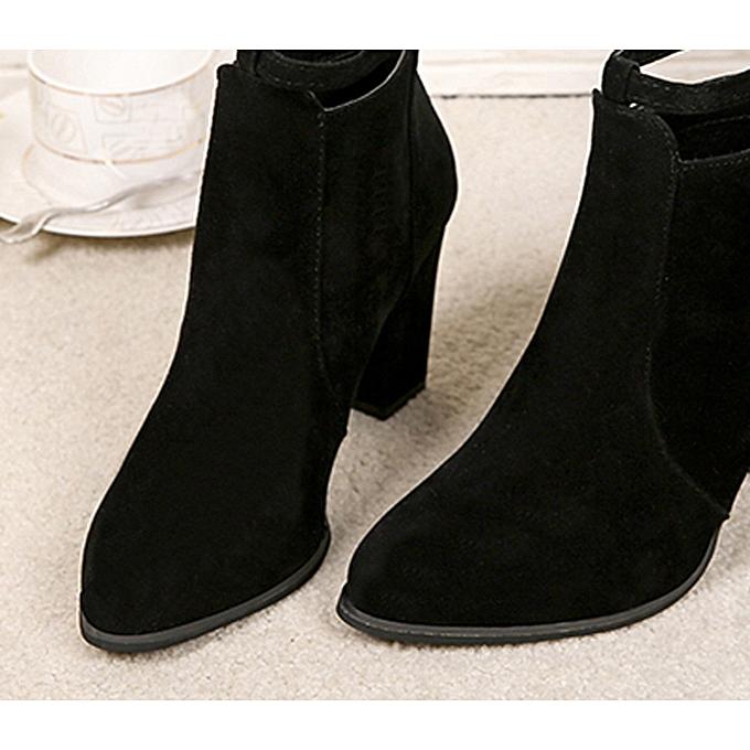 a93a73731a Fashion birthpar store Women Buckle Ladies Belt Faux Warm Boots Ankle Boots  High Heels Martin Shoes-Black