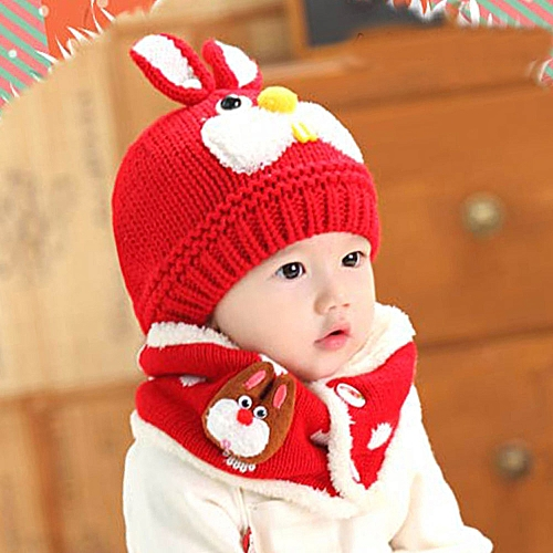 Generic jiuhap store Baby Scarf Boys Girls Infant Children Rabbit Teeth Scarf  Child Scarf Hat Caps RD- Red 73b81c11753