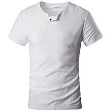 Men's Short Sleeve Linen Casual T-shirt (White)