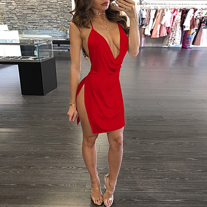 f57d97b17e33 Sexy Women Mini Dress Plunge V-Neck Sleeveless Backless Spaghetti Streap  Split Solid Slim Party