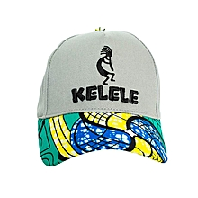 Light Grey And Cyan Baseball / Sports Hat With Kelele Color On Brim