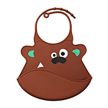 Baby Infant Waterproof Silicone Feeding Lunch Bibs Brown Bear