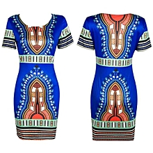 Fohting Traditional African Print Dashiki Bodycon Sexy Short Sleeve Dress Blue/XXXL -Blue