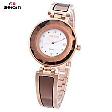 W4673 Women Quartz Watch Stereo Glass Mirror Artificial Diamond Dial Wristwatch-WHITE AND ROSE GOLD