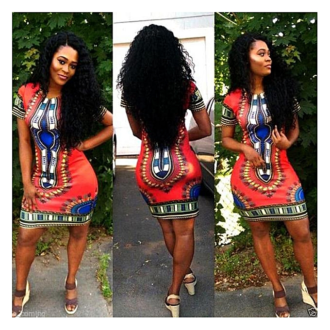 9d181554748 jiahsyc store Women Traditional African Print Dashiki Bodycon Sexy Short  Sleeve Dress Red XXL-