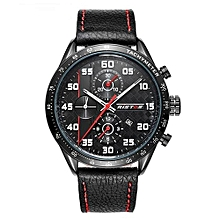 93008 Mens Watches Military Luxury Quartz Watch Leather Band Fashion Casual Business Male Wristwatches Quartz Watches - Red