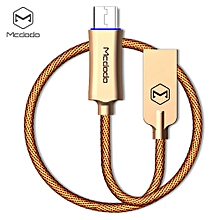 CA - 289 Knight Series QC 3.0 Micro USB 3A quick charg Auto Disconnection Data Sync Cable with Flashlight 1M - GOLDEN
