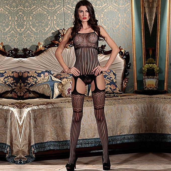 aca1c4660a4 ... Sexy Women Lingerie Body Stocking Stripe Mesh Hollow Out Cutout Erotic  Bodysuit Sleepwear Nightwear Black
