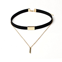 bluerdream-New Black Velvet Choker Necklace Chain Bar Chokers Chocker Necklace-Gold - Gold