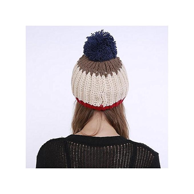 0792ebce40fae Wenrenmok Store Men s Women s Knit Wool Color Block Beanie Winter Hat Ski  Crochet Cap Pom Pom
