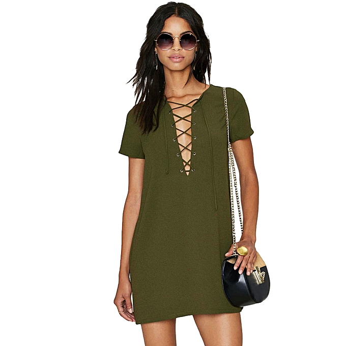 911e770f6cd New Summer Women Mini Dress Lace Up Solid Color O-Neck Short Sleeves Casual  Straight
