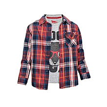 Red Boy's Shirt With Fox Print T-Shirt