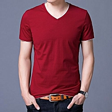 Contrast Trimed Casual Solid Short Sleeve T-shirt (Red)