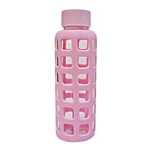 Glass Water Bottle - 350ml - Pink