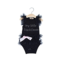 Girls Lace Tank Sleeveless Rompers - Black