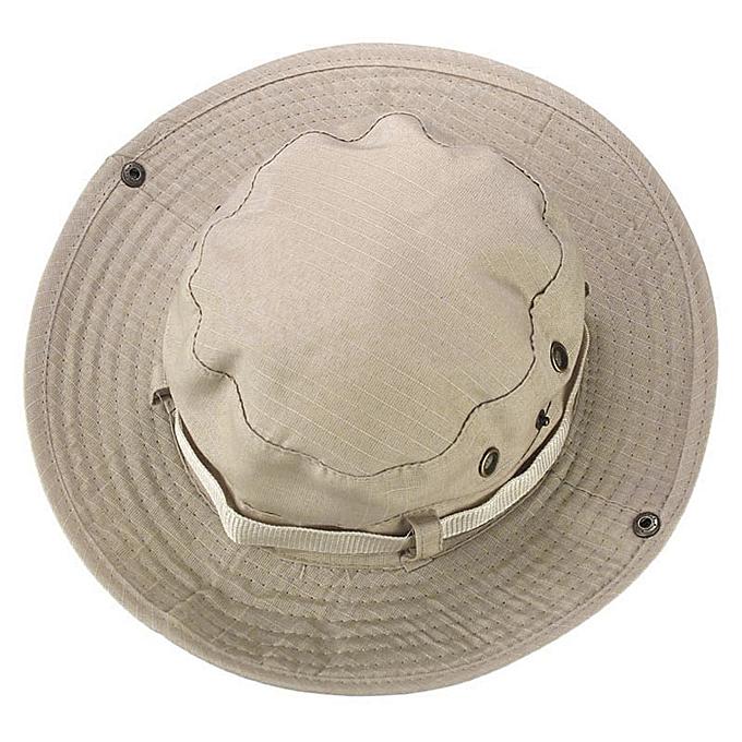 Bucket Hat Boonie Hunting Fishing Outdoor Wide Cap Brim Military Beige 80c80e510b55