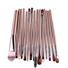 15 pcs/Sets Eye Shadow Foundation Eyebrow Lip Brush Makeup Brushes Tool -Gold