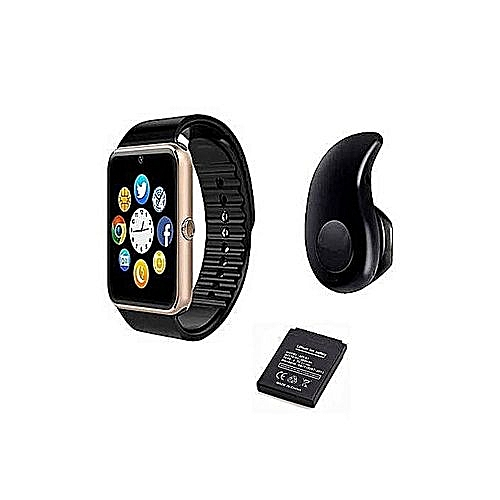 GT08 Smart Watch With SIM, SD Card Space For Android & IOS + Free S530  Bluetooth Earpiece + Extra Battery