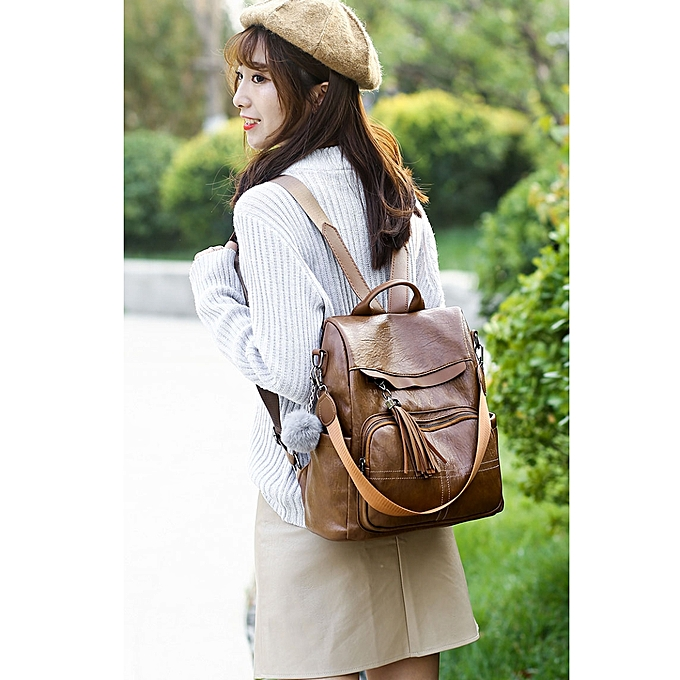 8b8c9f5e3024 Casual Shoulder PU Leather Backpack Ladies Messenger Bag with Plush Ball ( Brown)