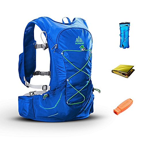 AONIJIE 15L Outdoor Hydration Backpack Rucksack Bag w/ 2L Water Bladder for Hiking Camping Running Marathon Race Sports Bags(BLUE)
