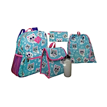 School Bag Set of 5 for Ages 5-8 Years 14 Inch Medium - Sky Blue & Pink