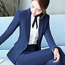 New style2018 long-sleeved professional suit officially loaded women's skirt pants-blue-S