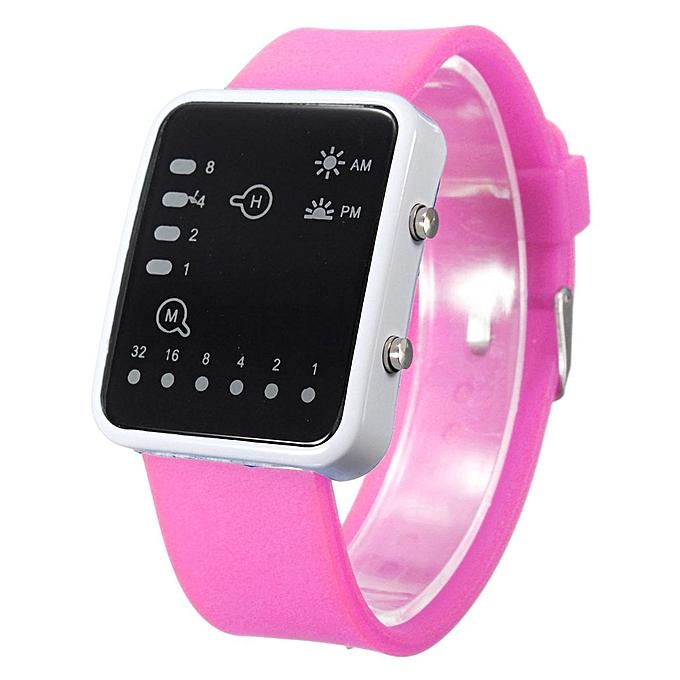 f05e21c4b3 Waterproof Rubber Digital LED Sports Binary Date Wrist Watch Women Mens  Gift Pink