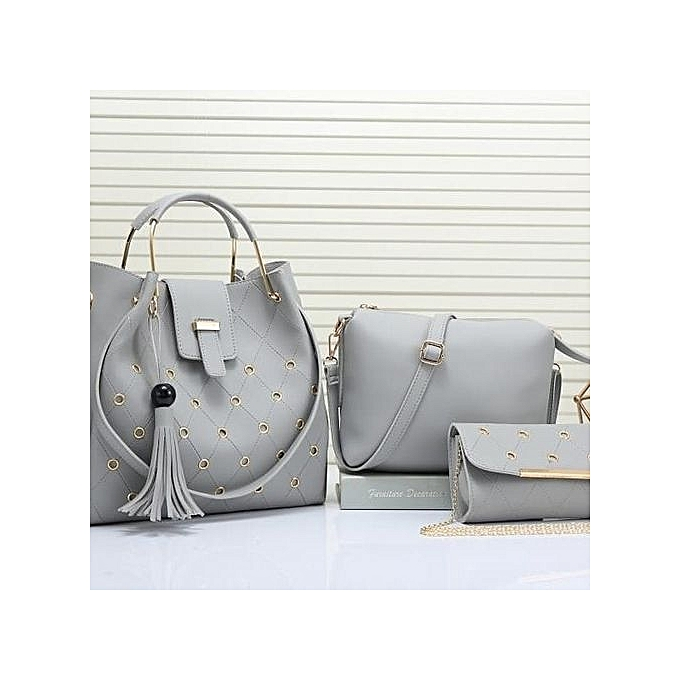 Las 3 In 1 Handbag Fashionable Full Set Light Grey