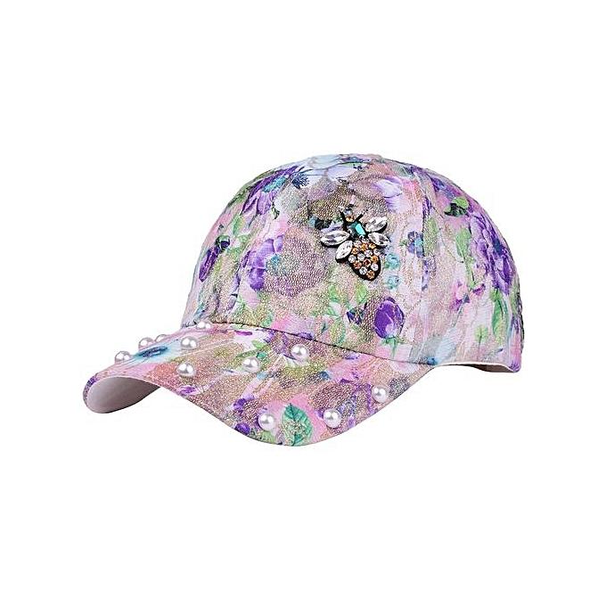 0345a0e50d8 Men Women Hat Fashion Trends Floral Print Pattern Cotton Adjustable Baseball  Cap ...