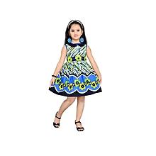 Black & Blue Striped Cotton Dress with Floral Details