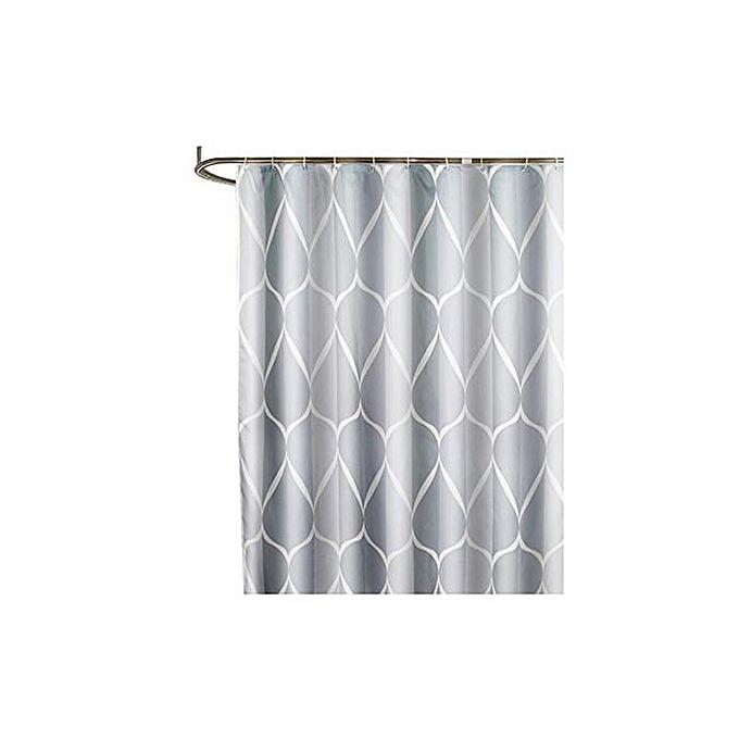 Generic Gray Smart Printed PatternMildew Proof Waterproof Polyester Fabric Shower Curtain Free Hooks Bathroom