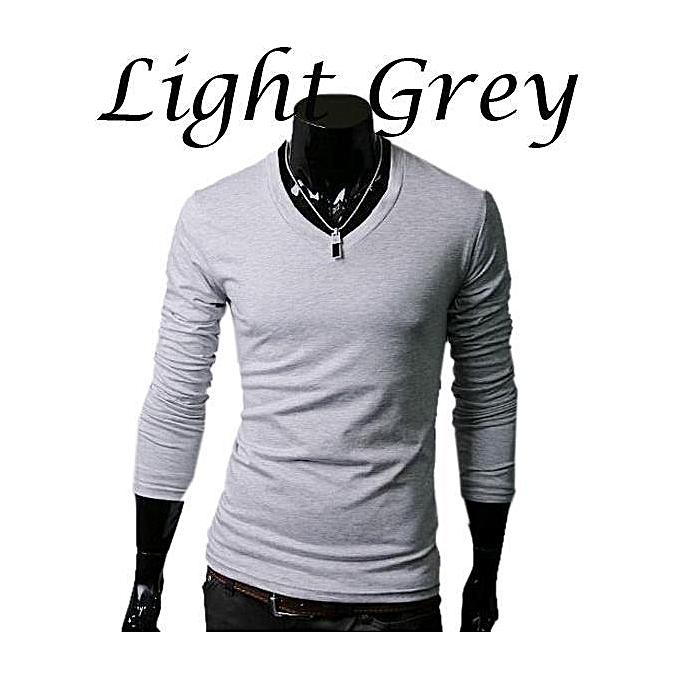 c8baaaad Slim Fit Solid Color Stylish V Neck Long Sleeve T-shirts Tee Tops ( Light  Gray ) - Light Grey - 10