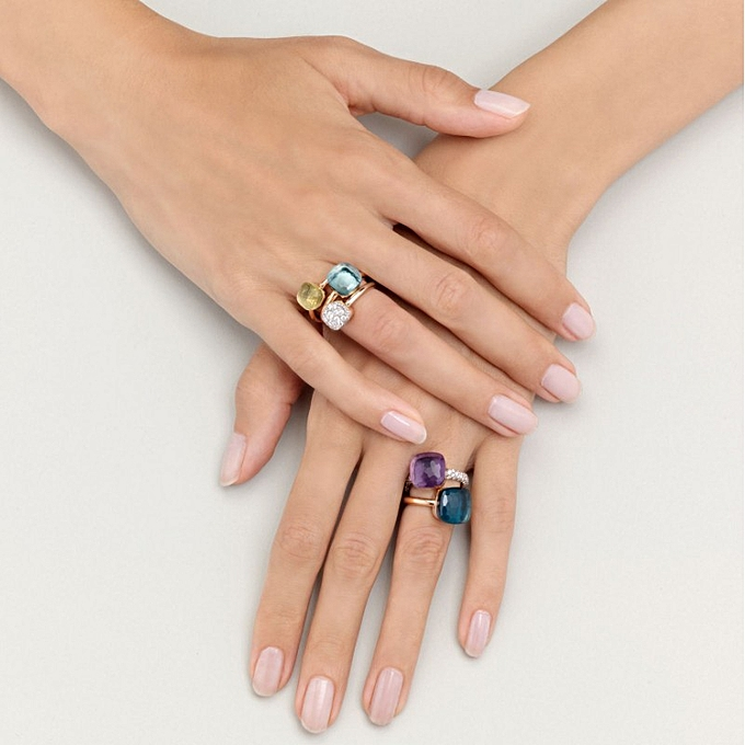 Personality tide person vogue Jing beautiful Jian Yue colorful sugar cubes  crystal star together style rose gold ring