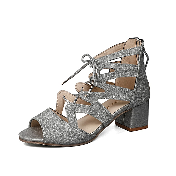 0a1911dc0145 Yingwaias Fashion Women Ladies Bling Sandals Square Heels Party Peep Toe  Casual Shoes-Silver
